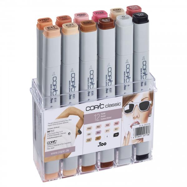 COPIC Classic Set Haut-Farben, 12 Stück
