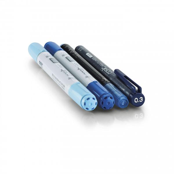"""Copic """"Doodle Pack Blue"""", 4 Stück"""
