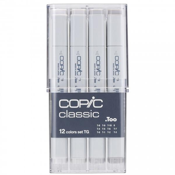 """COPIC Classic Grau-Set """"TG"""", 12 Stück"""